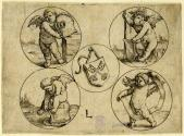 Coat of Arms of the City of Leyden in a Circle, Surrounded by Four Putti in Circles